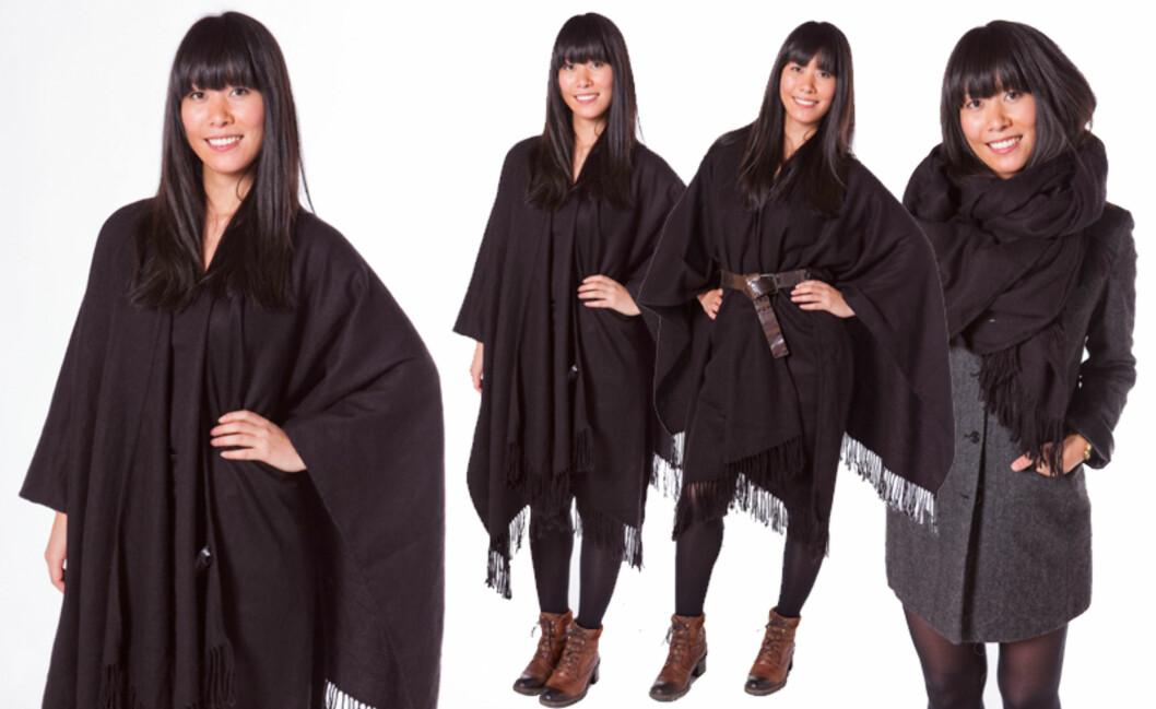 3 PLAGG: En poncho kan du bruke som cape, cardigan og skjerf - og du kan like gjerne bruke den til jeans som til kjole. Foto: Per Ervland
