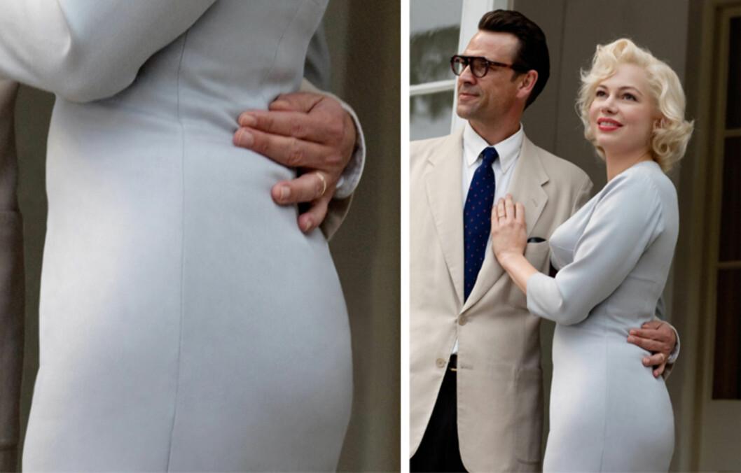 JUKSETRUSE: Michelle Williams spiller Marilyn Monroe i filmen «My Week with Marilyn» og har måttet jukse for å få 1950-tallsskjønnhetens fyldige figur. Foto: All Over Press