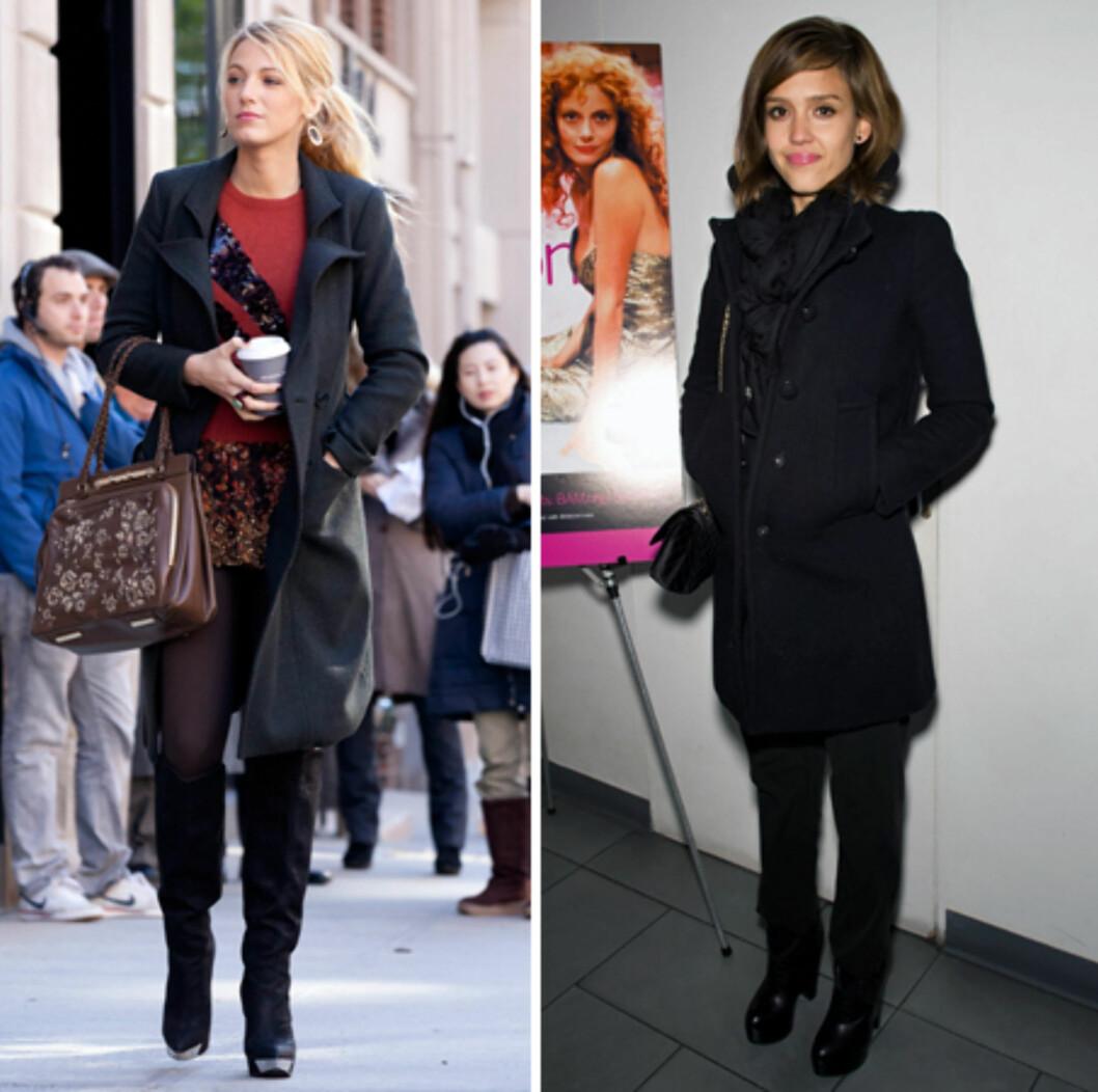 PASSER ALLE: En svart, innsvinget modell kler de fleste fasonger og de fleste stiler. Blake Lively (t.v) i knelang modell med jakkeslag og Jessica Alba i en kortere kåpe med liten pufferm. Foto: All Over Press