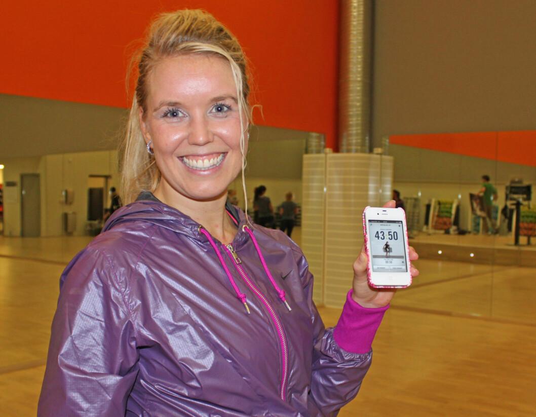 ELSKER DET: SATS-instruktør Kristine Lium er blant dem som er stor fan av den nye appen til Nike, og bruker den regelmessig.  Foto: Cecilie Leganger