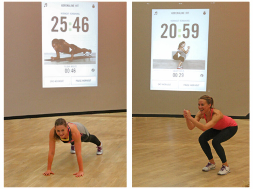 KK.NO TESTER: KK.no fikk være med da instruktører fra SATS Bislett og Nike tok en gjennomgang av en av timene fra appen denne uken. Her ser du noen av øvelsene.  Foto: Cecilie Leganger