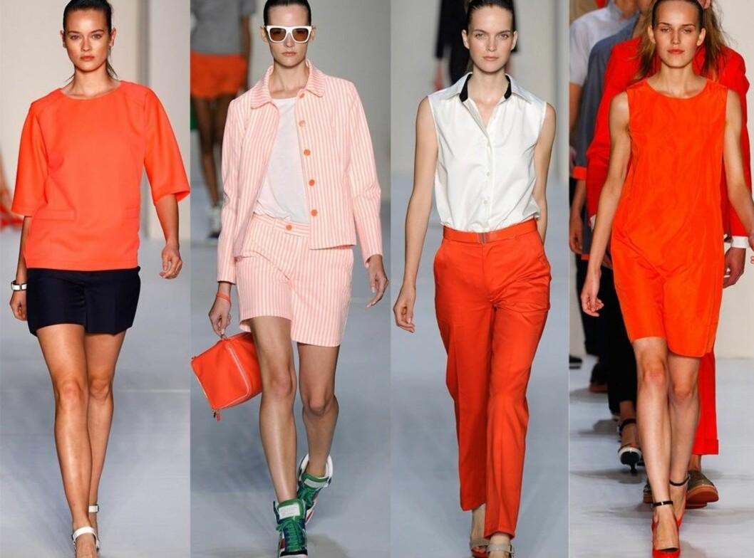 FRA MOTEUKEN I NEW YORK: Marc Jacobs vil at vi skal kle oss i freshe sporty plagg til neste år. Fargen som gjelder er ORANSJE.  Foto: All Over Press
