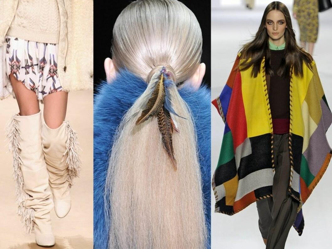 Fra venstre hvite frynseboots hos Isabel Marant, fjærpynt i håret på catwalken til Gucci og flagrende fargerik poncho designet av Chloè. Foto: All Over Press