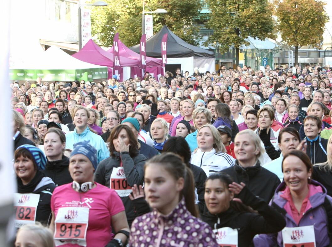 MANGE DAMER: Over 3000 kvinner var påmeldt på årets KK-mila arrangement.  Foto: Per Ervland