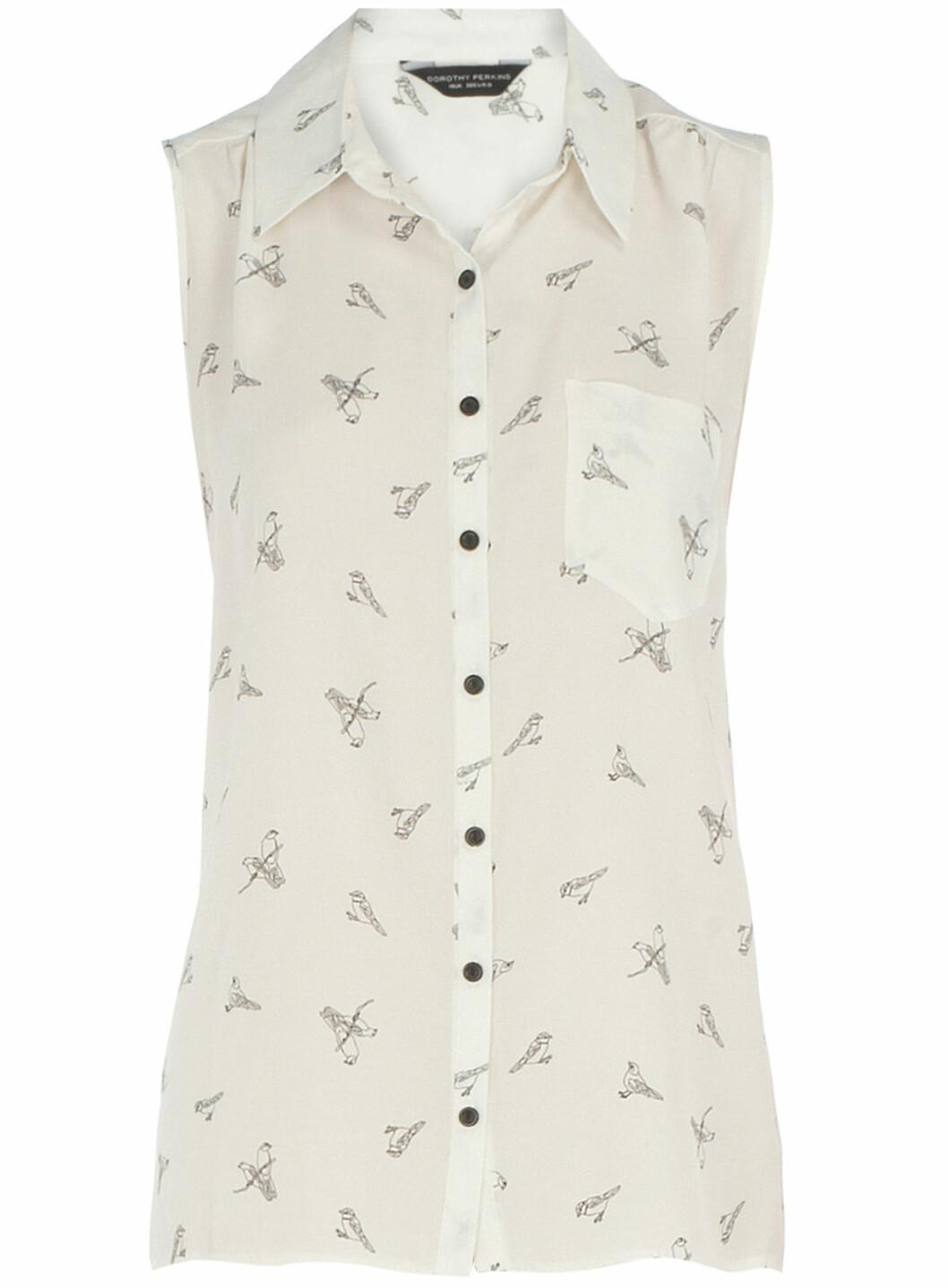 Ermeløs skjorte med søtt fuglemotiv (ca kr.190/Dorothyperkins.com). Foto: Produsenten