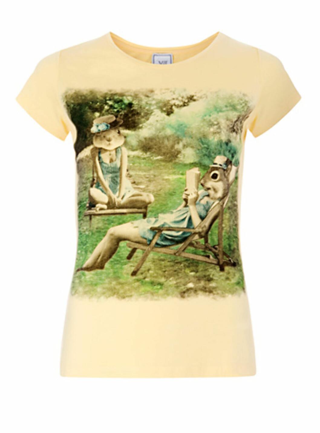 T-skjorte i nydelig gulfarge (kr.169/Mango). Foto: Produsenten