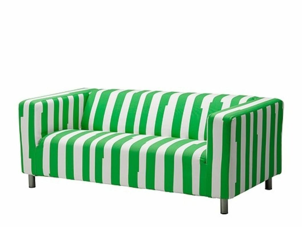 <strong>KLIPPAN:</strong> Oppdater sofaen med dette nye trekket i Klippan-serien med syrlige grønne striper (kr.550). Foto: Ikea.no