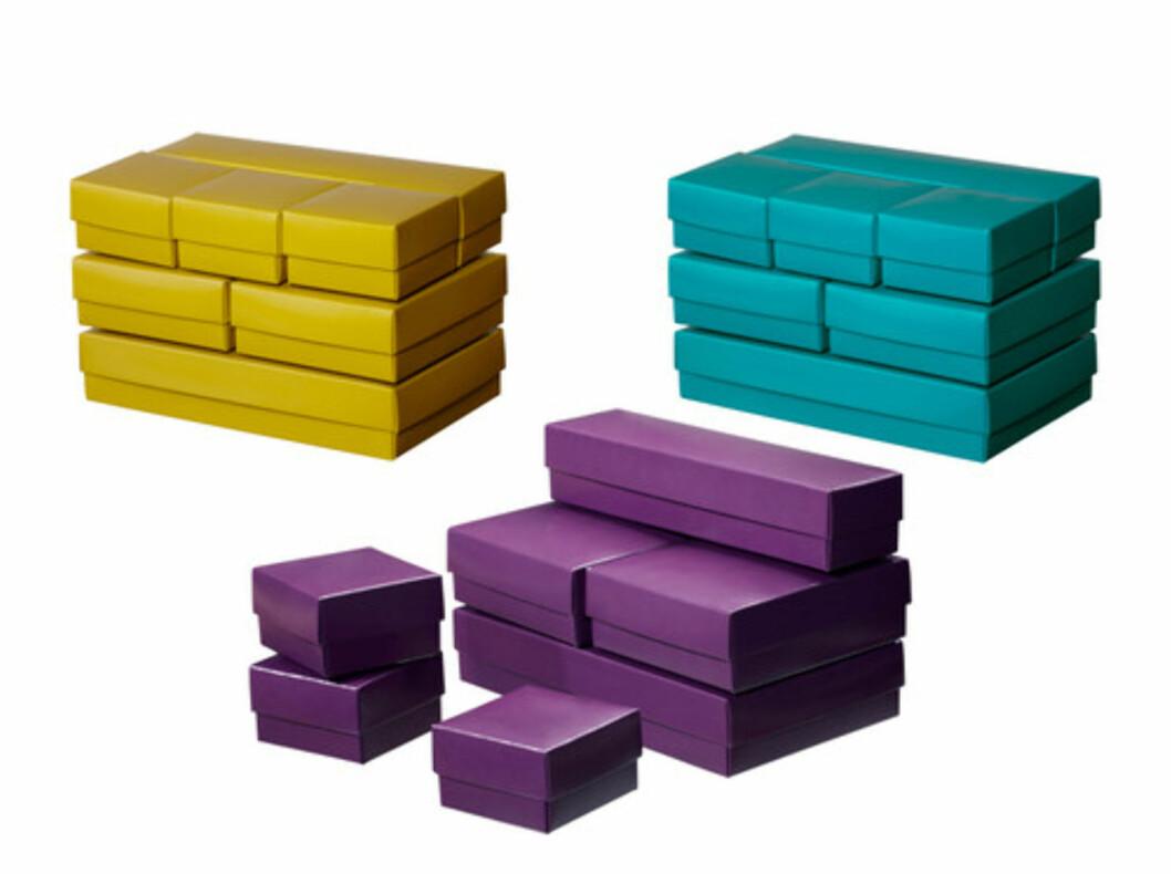 <strong>VAMMEN:</strong> Sju esker i varierende størrelse til 29 kroner. Til dekorativ oppbevaring eller som gaveesker. Foto: Ikea.no