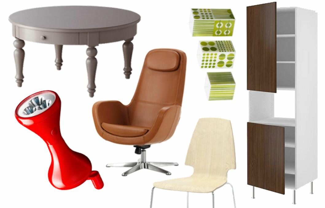 <strong>NYHETER:</strong> Vi har plukket ut våre 15 favoritter fra den nye Ikea-katalogen. Få priser og se flere favoritter i bildeviseren under. Foto: Ikea.no/collage