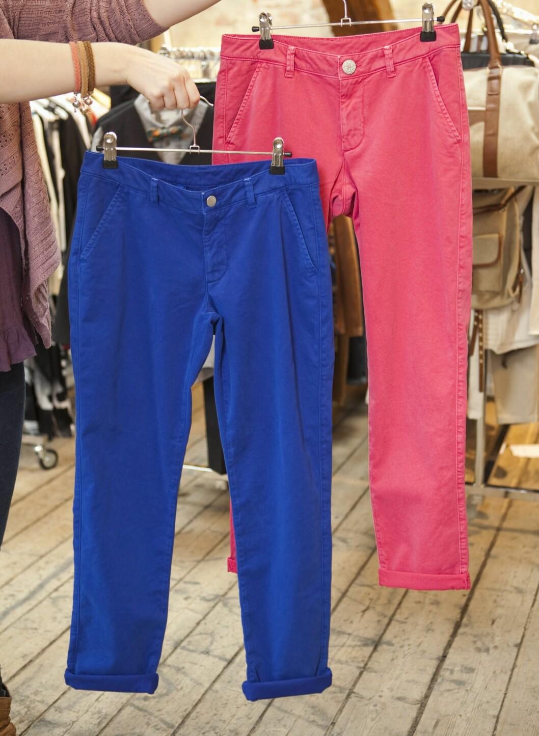 – Jeg elsker farger, og disse buksene kan bli supersøte med en enkel, hvit silkebluse med knytting i halsen og et par lekre pumps.   Bukser fra Lindex, kr 300. Foto: Per Ervland