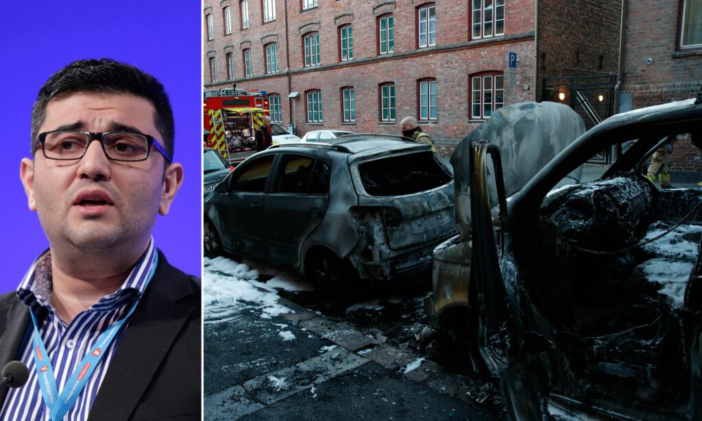 - SKYLDES INNVANDRING: Frp's innvandringspolitiske talsmann Mazyar Keshvari gikk i går ut og sa at den siste tidas bilbranner i Oslo, skyldes innvandring. Det har politiet i Oslo ingen holdepunkter for å si. Foto: NTB Scanpix