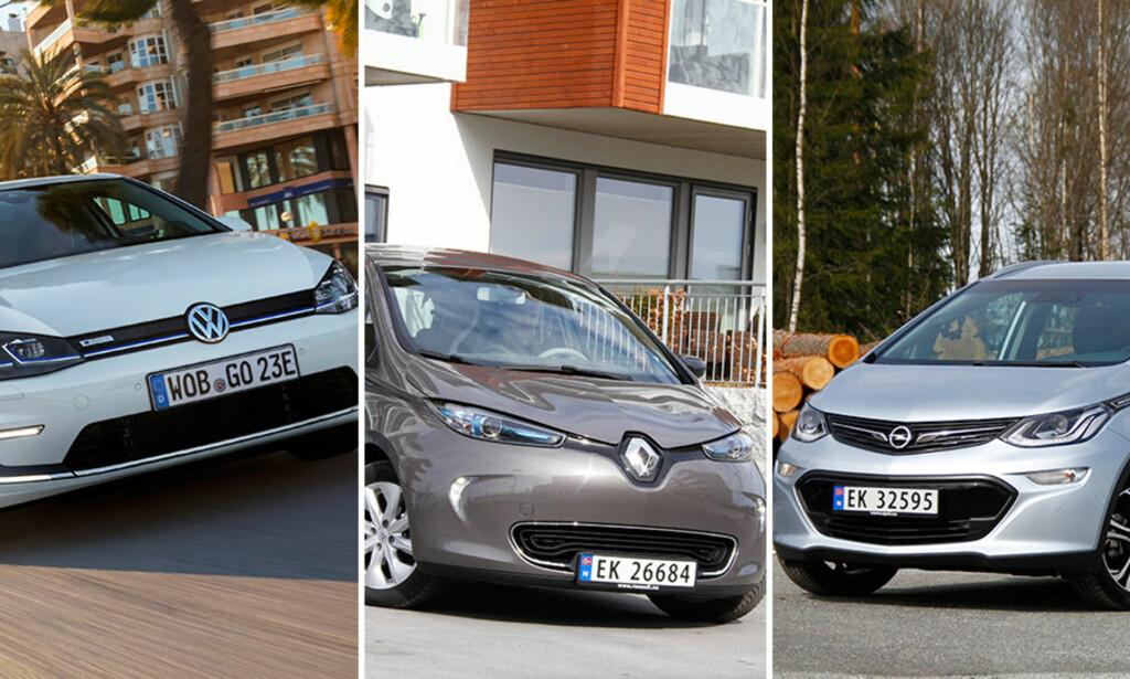 SPENNINGEN STIGER: Distansekampen er i gang, for nå begynner de små elbilene for alvor å skryte på seg rekkevidde. I denne stortesten har vi tatt for oss VW e-Golf (f.v.), Renault Zoe og Opel Ampera-e. Foto: Fred Magne Skillebæk, Rune M. Nesheim og VW.