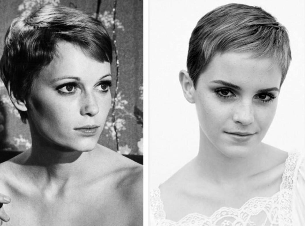 SOM TO DRÅPER VANN: Mia Farrow gjorde pixieklippen legendarisk på 1960-tallet. Nå har Emma Watson latt Hermine-lokkene falle. Vi elsker det! Foto: All Over Press