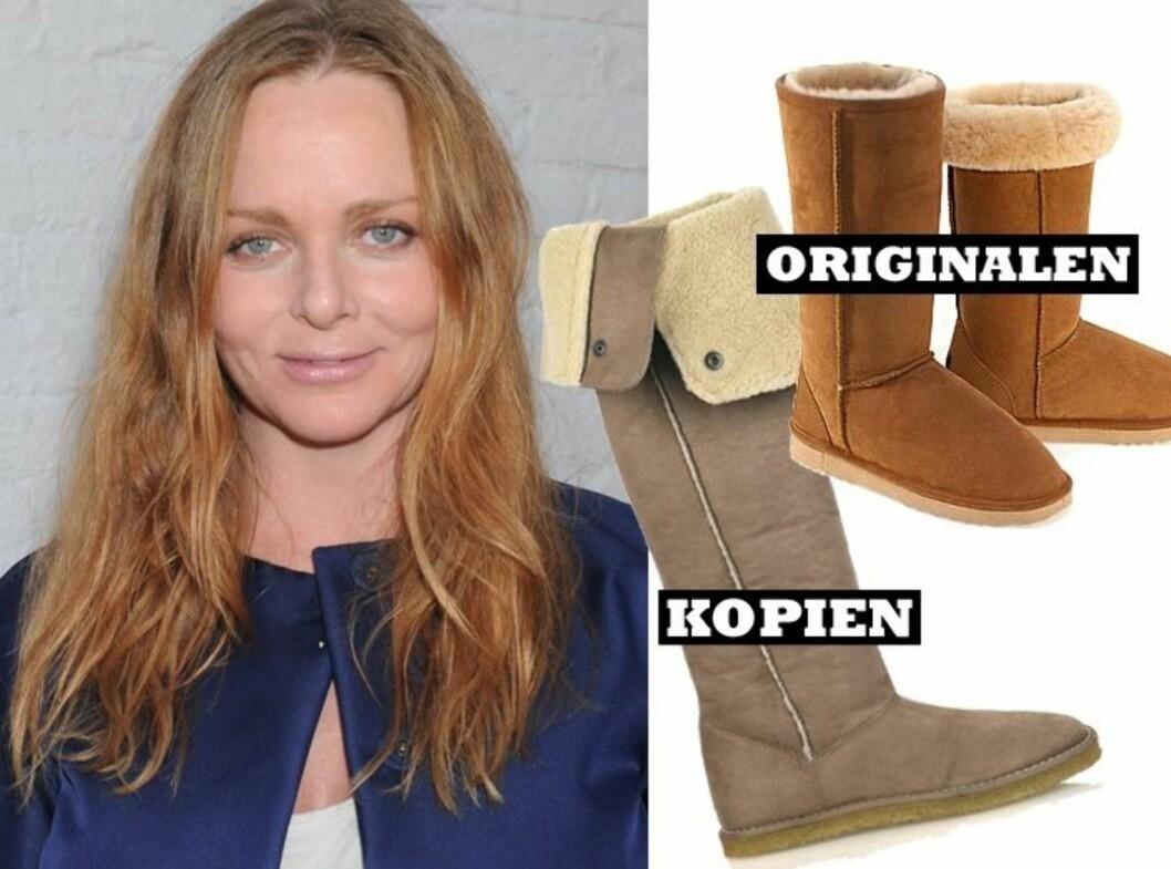 VARM DESIGN: Stella McCartney har begynt å designe varmt fottøy. Se hvor like McCartneys boots (til venstre) er de originale UGG-bootsene.  Foto: All Over Press og produsentene