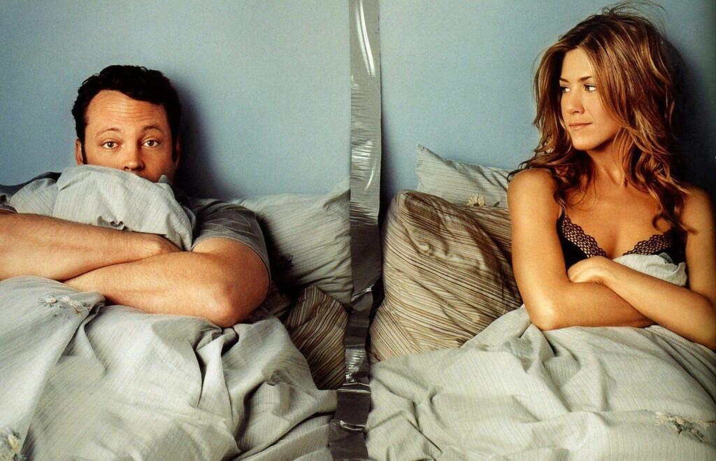 Skuespillerne Vince Vaughn og Jennifer Aniston var kjærester mens de spilte inn The Break-Up (2006) sammen. Hun var litt heldigere enn ham etter bruddet, siden hun hadde hele Friends-gjengen til å trøste seg.