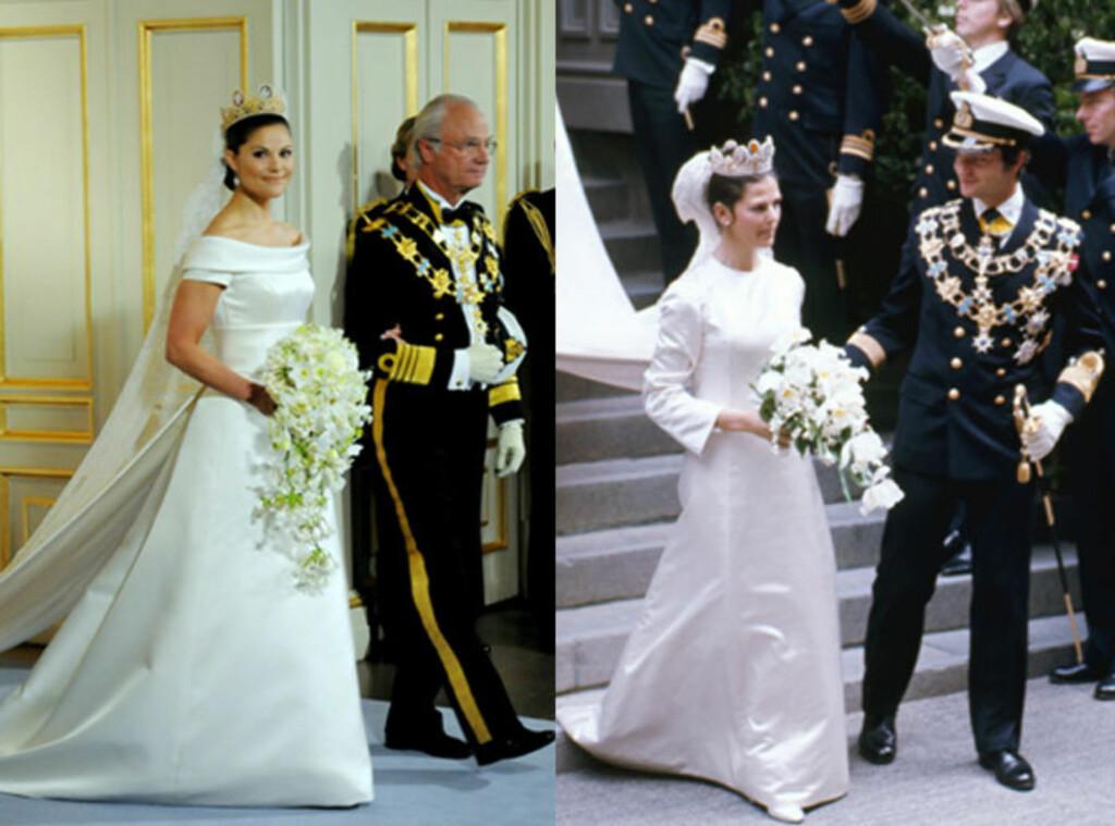 5c0bb027 LIKE: Både kronprinsesse Victoria og dronning Silvia giftet seg 19. juni.  Kjolene er