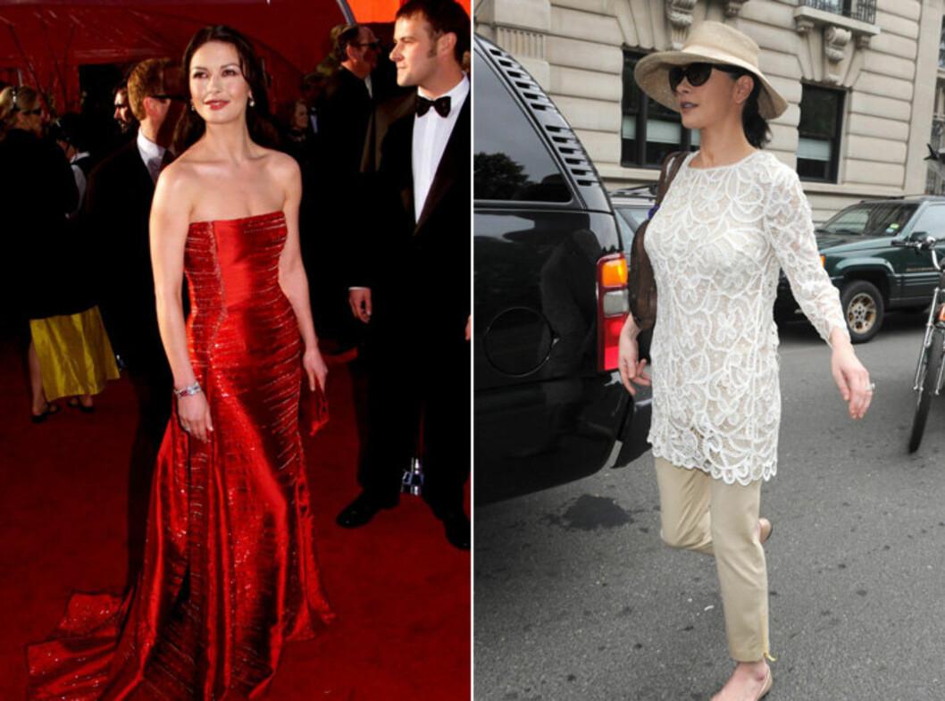 FØR OG NÅ: Catherine Zeta-Jones' røde Versace-kjole fra Oscar-utdelingen i 1999 har havnet på mange best kledd-lister. Ti år senere er situasjonen en ganske annen... Foto: All Over Press