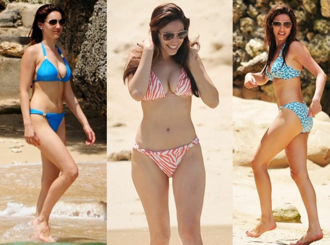 TRIPPEL BIKINILYKKE: Kelly Brook er så glad i Vix-bikinien sin at hun like godt har kjøpt tre forskjellige.  Foto: All Over Press