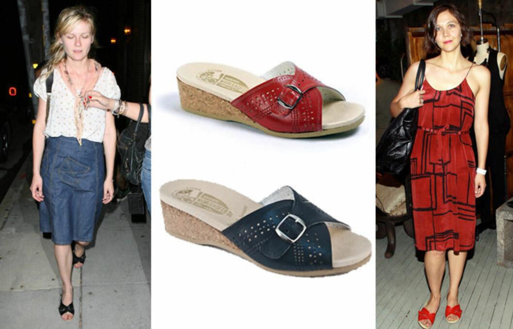 KJENDISFAVORITT: Kirsten Dunst og Maggie Gyllenhaal  er begge tilhengere av de komfortable Wörishofer-sandalene.   Foto: All Over Press/Lovethoseshoes.com