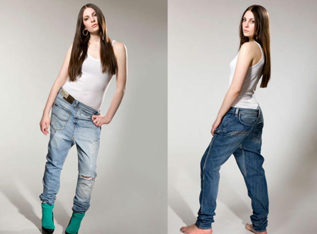 """KULE OG SPESIELLE: Det som kjennetegner Fretex Redesign-jeansene er at de er """"skjeve"""" og halvveis bakvendte. Foto: Fotografene Lillian & Lena/ www.elel.no"""
