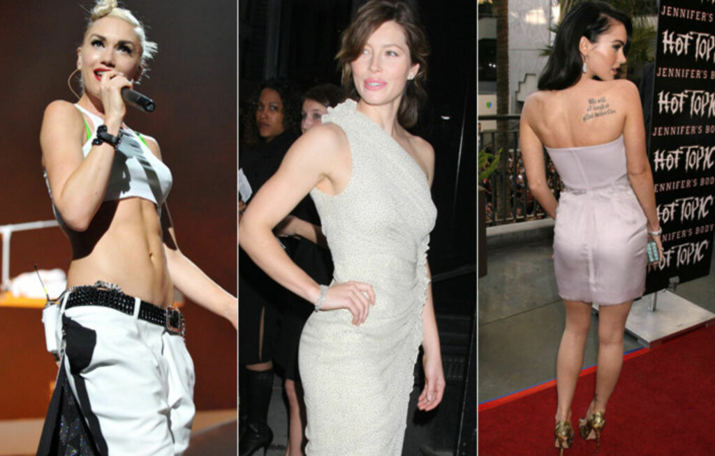 HOTTESTE KROPPENE: Gwen Stefani har flottest mage, Jessica Biel best stil og Mega Fox mest sexy stuss, ifølge Fitness Magazines lesere. Foto: All Over Press