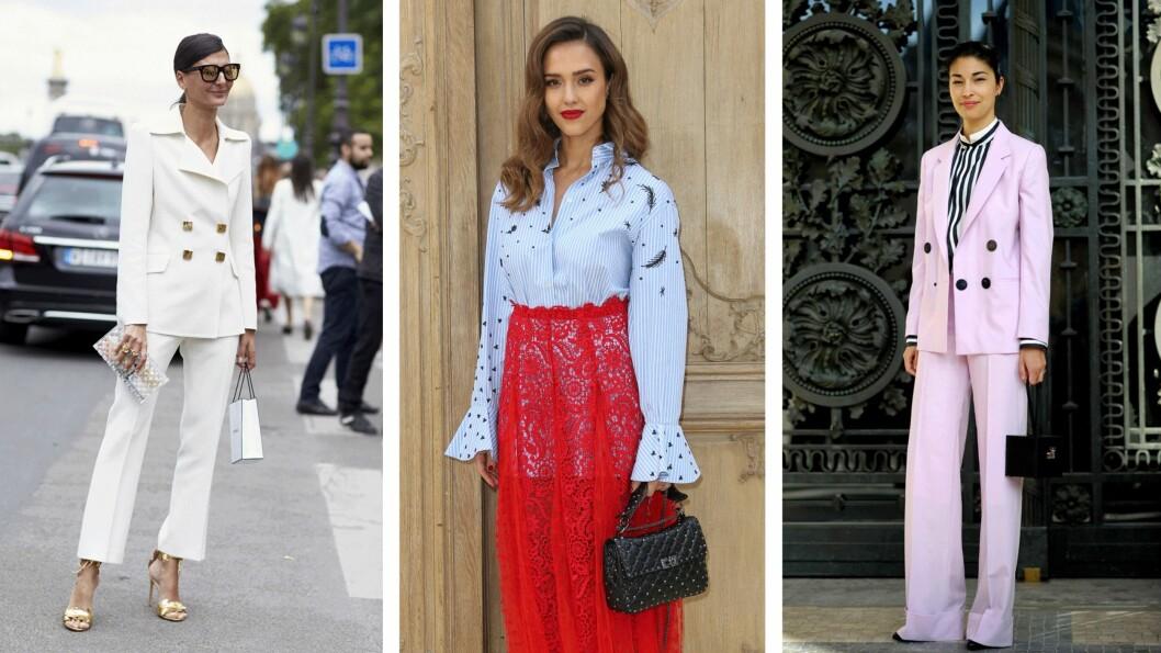 INSPIRASJON: Gå for en dress, matchende sett, noen spreke farger, eller et superfint skjørt a la Jessica Alba (i midten)! Foto: Scanpix