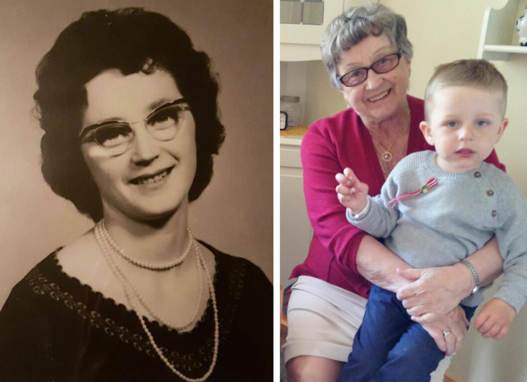 ELLINOR: På bildet til venster er Ellinor Isaksen fra Nordnes i Lyngen 28 år. På bildet til høyre sitter hun med oldebarnet Emil på fanget. Foto:  Foto: Privat
