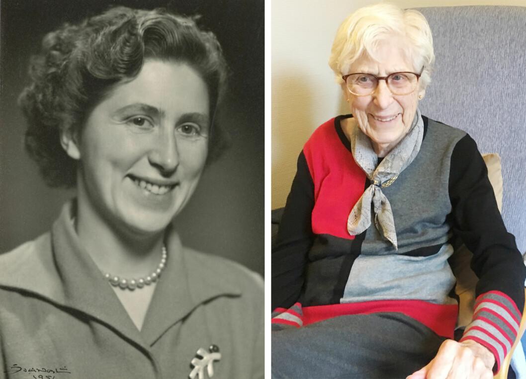 HILDA: På bildet til venstre er Hilda Trudvang 24 år. Bildet til venstre er tatt 67 år senere. Hun forteller til KK.no at hun setter veldig pris på at vi har en kongefamilie i dette landet. Foto:  Foto: Privat og Malini Gaare Bjørnstad