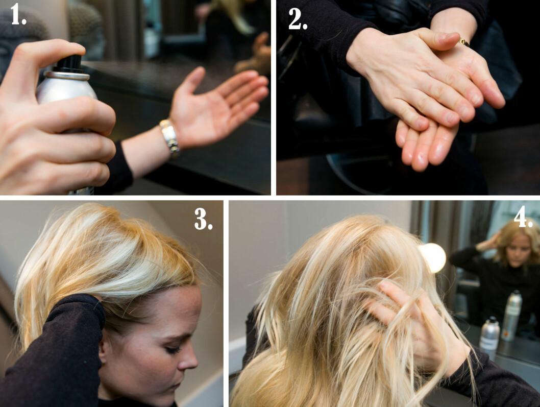 SLIK GJØR DU: 1. Ha hårspray på hendene 2. Gni de litt sammen 3. Påfør under håret - ved røttene der du ønsker volum 4. Bruk fingrene til å dandere/rufse/style håret slik du ønsker. Helt tilslutt - spray et superlett lag over håret (hold flaksen/sprayboksen 30 cm unna håret).  Foto: Per Ervland