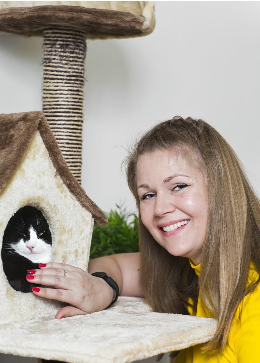 KATTEHUS: Da Selmer flyttet inn, var kattehuset snart på plass.  – Der får han godt overblikk, og han kan kvesse klørne, sånn at han ikke går løs på sofaen, sier matmor Mina.  Foto: Astrid Waller