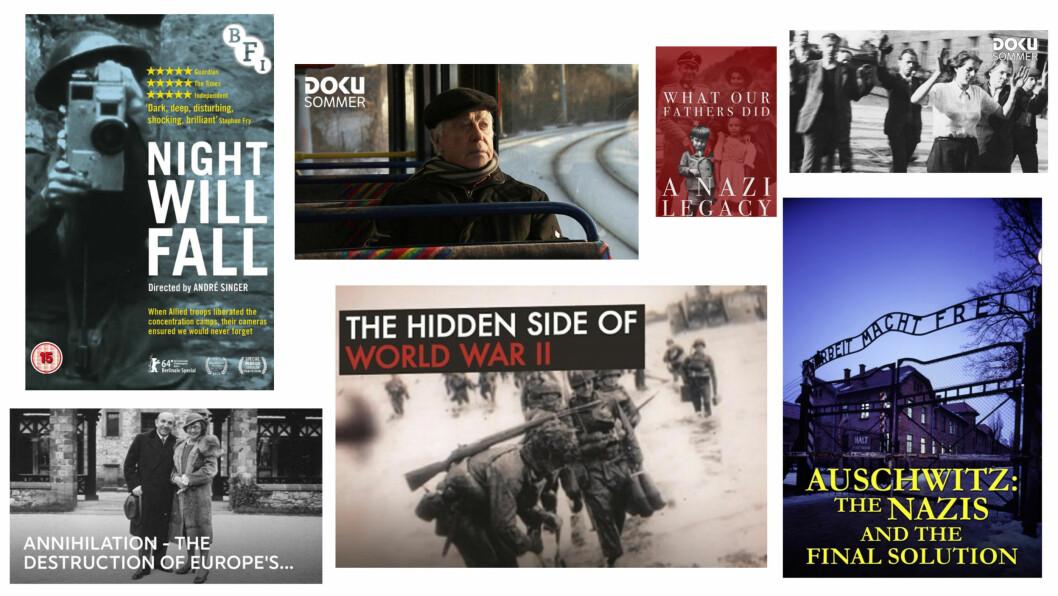 ANDRE VERDENSKRIG DOKUMENTARER: Det finnes utallige dokumentarer med andre verdenskrig som tema. Her er våre favoritter! Foto: Skjermdump fra Netflix, NRK, ViaPlay og Amazon