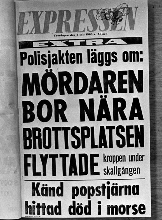 FORSIDEN AV EXPRESSEN: Drapet på 20 år gamle Jeanette Johansson fra Järna ble slått stort opp i 1969.  Foto: TT NYHETSBYRÅN