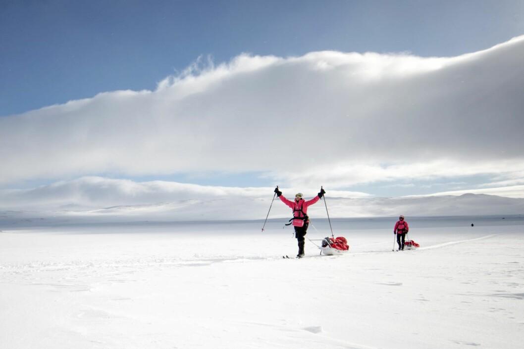 EXPEDITION AMUNDSEN: I 2016 var Kari med på Expedition Amundsen, et 100 kilometer løp med en 40 kg tung pulk over Hardangervidda i Amundsens skispor.  Foto: Expedition Amundsen