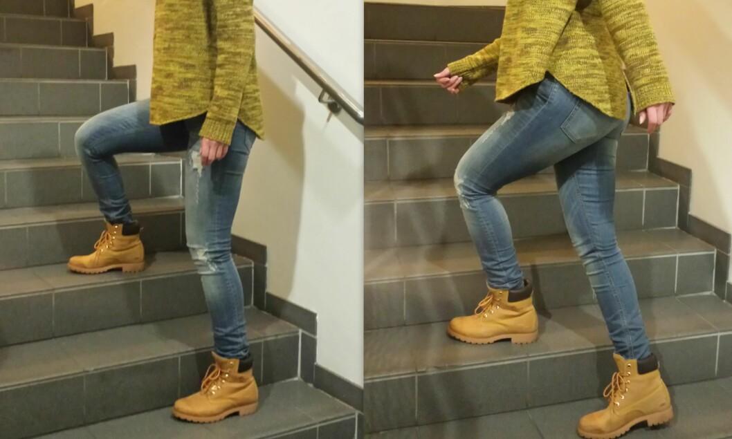 SIDELENGS: Bilde til venstre viser startposisjonen. Dra deg opp med den foten som står øverst i trappen, og løft samtidig den andre foten opp og forbi til trappetrinnet over. Foto: Stine Helén Tunstrøm