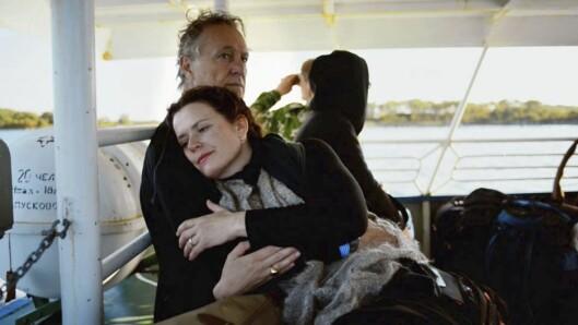 <strong>MED MANNEN:</strong> Gørild og mannen Tommaso på båten til Solovkiøyene i Nordvest-Russland. Bildet er fra filmen.  Foto: Orto polare