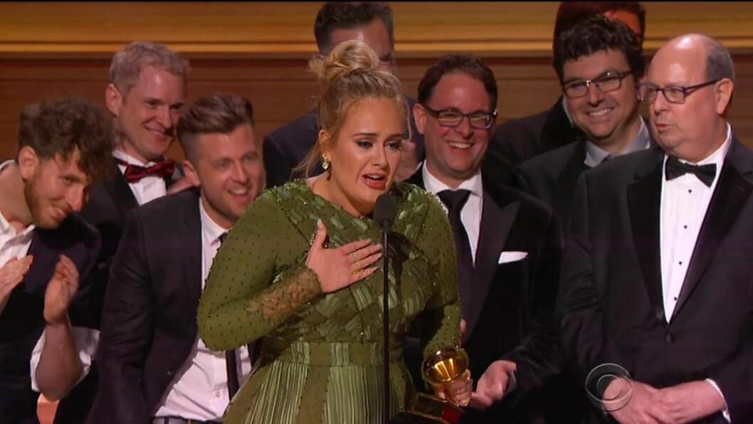 <strong>Adele:</strong> Under nattens Grammy vant Adele blant annet prisen for «årets album» for albumet «25». Under takketalen tok hun seg tid til å fortelle om den vanskelige mammarollen.  Foto: Xposure