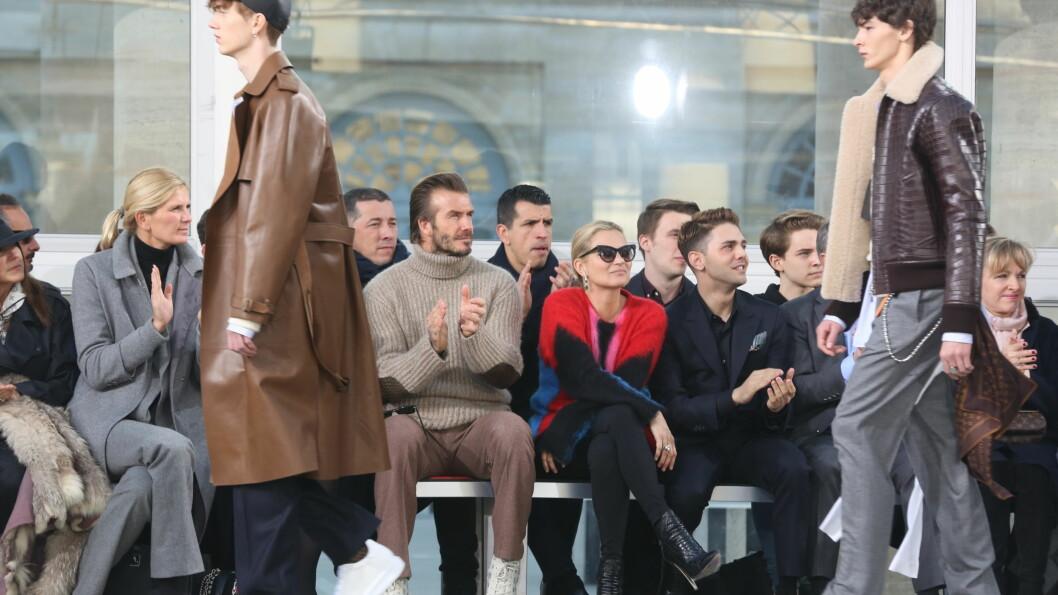 ADRIAN STENE: Adrian Stene (t.v.) ble oppdaget på familieferie i Riga - i januar gikk han visning for Louis Vuitton, Prada og Valentino med David Beckham og Kate Moss på første rad. Foto: Abaca