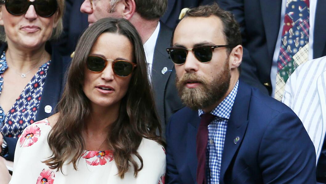 <strong>JAMES MIDDLETON:</strong> Pippa og James Middleton fotografert under Wimbledon Championships i fjor sommer. De er småsøsknene til hertuginne Kate og er naturlig nok en del av britisk sosietet. Foto: NTB Scanpix
