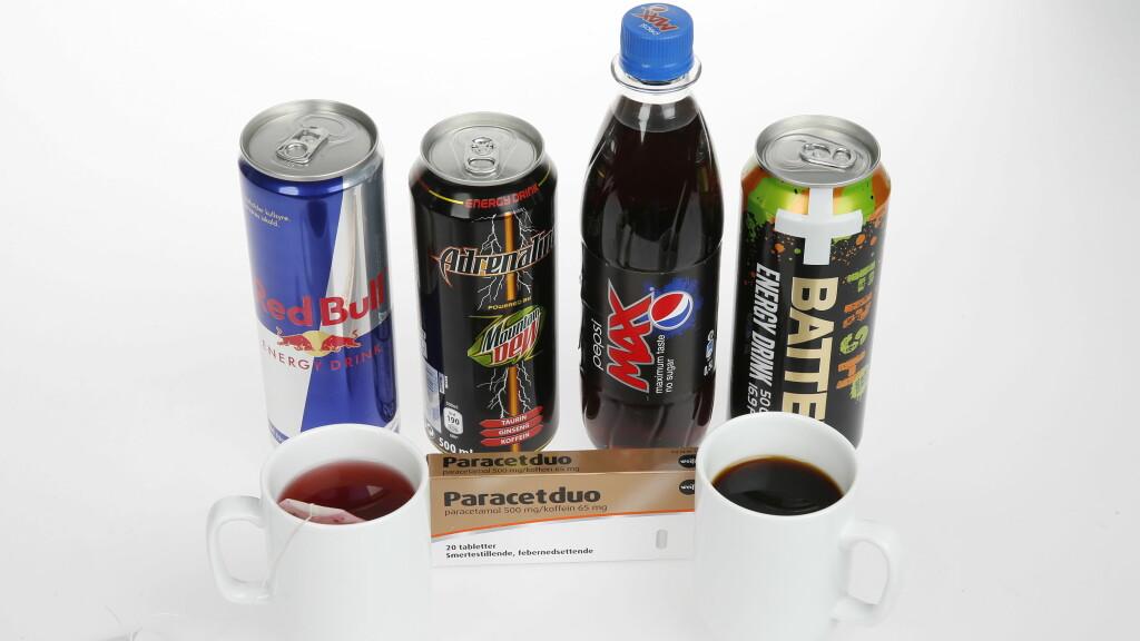Samlebilde av koffeinvarer til sak om koffeinsjokk.  Koffein-bombene. Mineralvann. Red Bull, Pepssi Max,  Adrenaline, Battery og Paracetduo. Kaffe Te.  FOTO: TROND SOLBERG/VG  Foto: VG