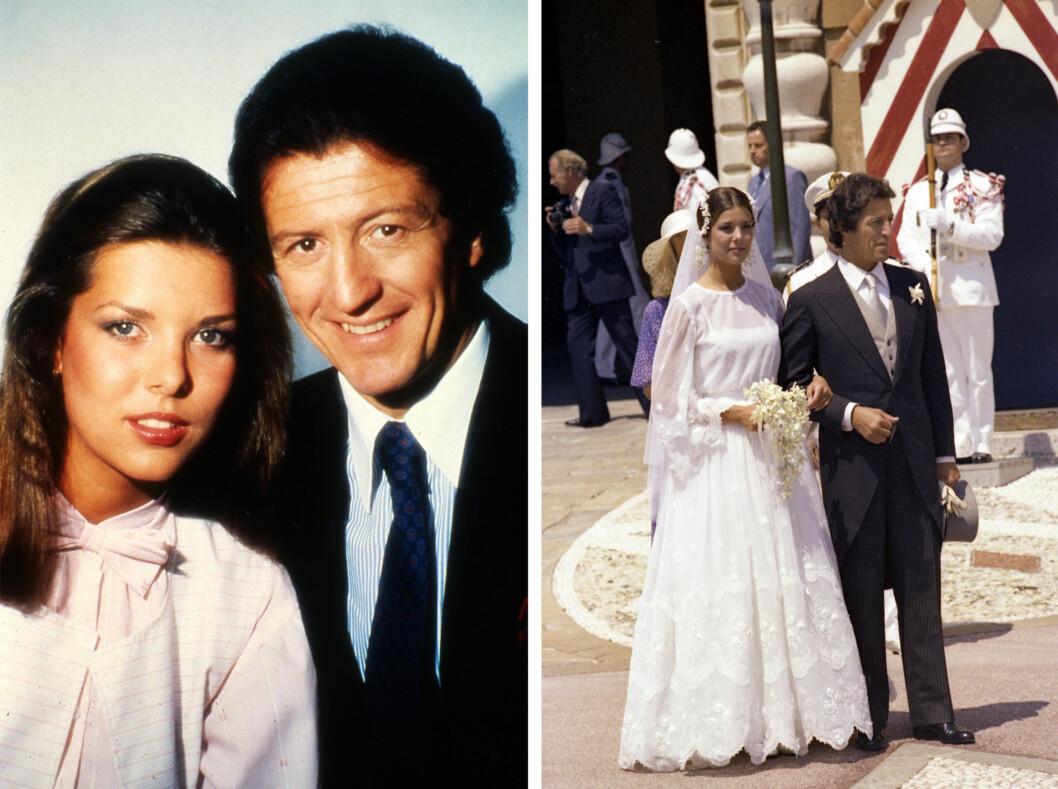 <strong>UNG BRUD:</strong> Prinsesse Caroline var bare 21 år da hun giftet seg med den 16 år eldre forretningsmannen Philippe Junot. Ekteskapet varte bare i to år. Hun har senere sagt: - Jeg var ung og forelsket. Alt skjedde så fort. Foto:  Foto: NTB Scanpix