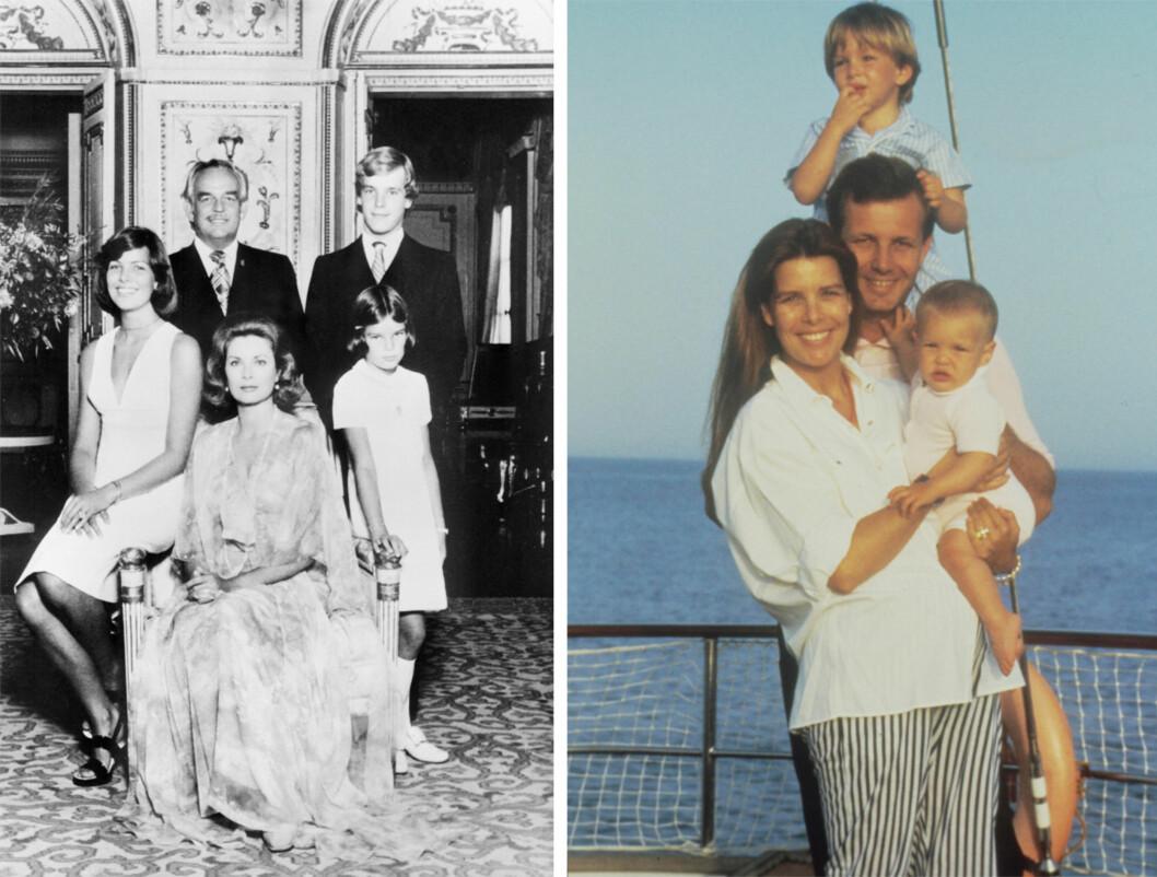 <strong>FAMILIEIDYLL:</strong> Bildet til venstre er tatt i 1975, og viser hele fyrstefamilien. I midten var en stolt trebarnsmor Grace Kelly, med barna Caroline, Albert og Stéphanie. Bakerst fyrst Rainier III. Bildet til høyre viser prinsesse Caroline og ektemannen Stefano Casiraghi med barna Andrea og Charlotte. Han døde bare 30 år gammel i 1990. Foto:  Foto: NTB Scanpix