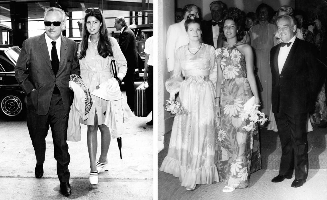 <strong>MED FORELDRENE:</strong> Prinsesse Caroline med pappa Rainier III og mamma Grace Kelly. Bildene er tatt i 1961 (venstre) og 1975. Vi ser hvor Charlotte Casiraghi har hentet sin skjønnhet fra! Foto:  Foto: NTB Scanpix