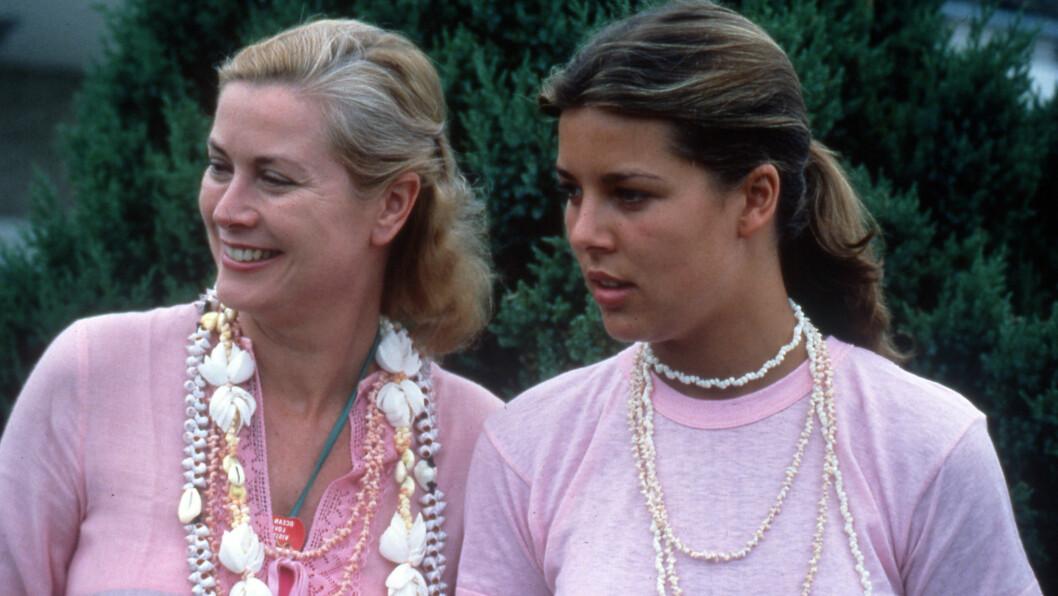 <strong>MONACO:</strong> Prinsesse Grace av Monaco med eldstedatteren prinsesse Caroline på stranden i New Jersey den 30. juli 1978 - Grace døde fire år senere i en bilulykke. Caroline var 25 år da hun mistet moren. Foto: NTB Scanpix