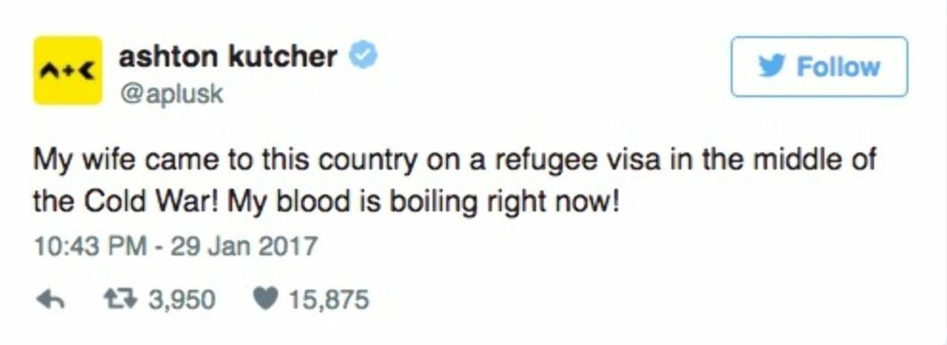 ASHTON KUTCHER: Skuespilleren reagerer kraftig på Trumps siste ordre.  Foto: Skjermdump Twitter