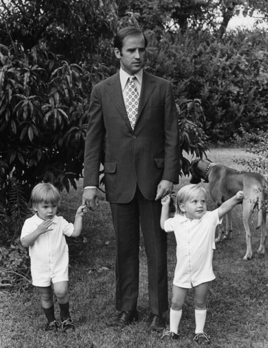 1972: Joe Biden med sønnene Hunter (t.v.) og Beau (t.h.) samme år som kona Neilia gikk bort.  Foto: AP