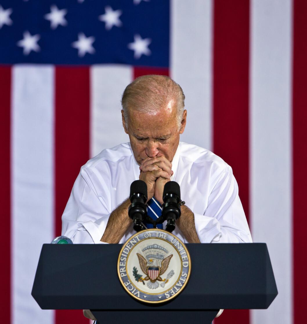 2016: Joe Biden holder tale under valgkampen til Hillary Clinton.  Foto: Ap
