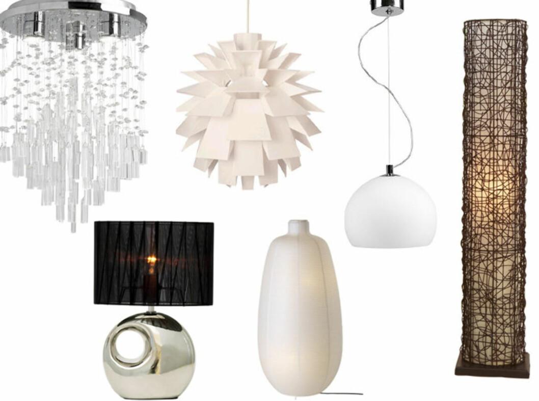 SE LYSET: Måten man belyser et rom på har mye å si for inntrykket rommet gir. Det har selvfølgelig også utseende på lampene! Se billige og kule lamper i bildeserien under. Foto: Produsentene