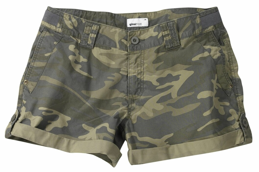 Kamuflasjemønstret shorts (kr 149/Gina Tricot) Foto: Produsent