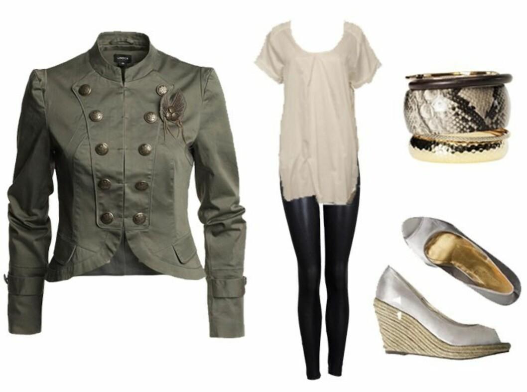Uniforminspirert jakke med feminint snitt (kr 499/Lindex), hvit tunika (kr 699/Reströds,nelly.com), skinnende tights (kr 299/Vivikes), armbånd (kr 70/H&M) og sølvfargede kilehælsandaler (kr 149/H&M). Foto: Produsentene