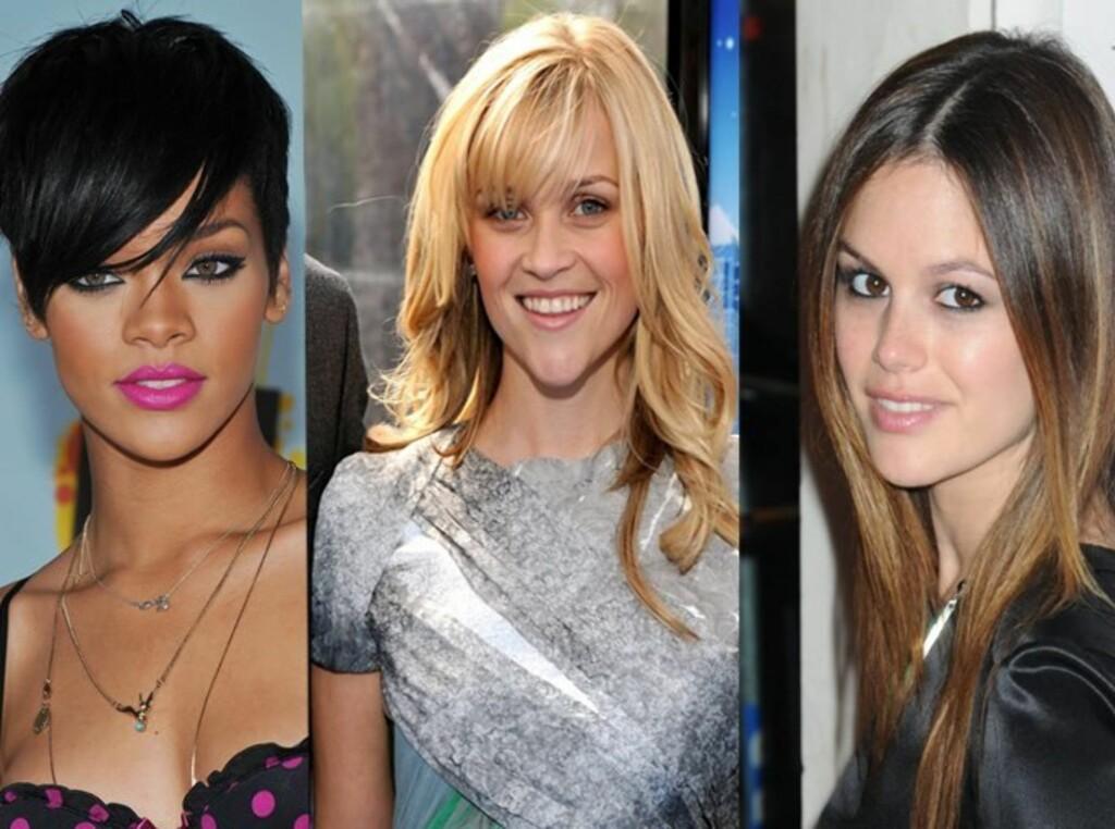 Hvilken frisyre vil du ha selv? Stjerner som Rihanna, Reese Witherspoon og Rachel Bilson er alle kjente for sine fine frisyrer. Foto: All Over Press